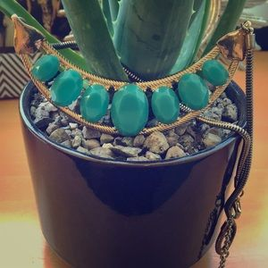 Jewelry - Gold and Faux Turquoise Statement Necklace